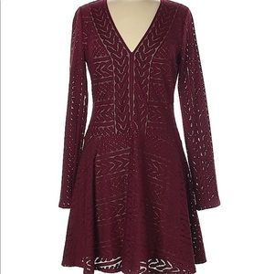 BCBGMaxAzria Burgundy Long Sleeved Dress